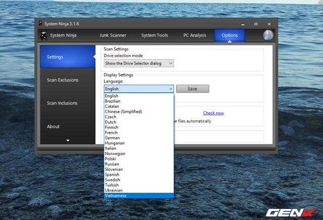"""Ở tab cuối cùng, tab """"Options"""" sẽ cung cấp cho người dùng một số các lựa chọn thiết lập cá nhân hóa System Ninja. Đặc biệt, phần mềm này còn hỗ trợ cả tiếng Việt nữa đấy!"""