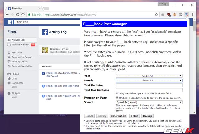 """Khi đã ở trong trang Activity Log, bạn hãy nhấn vào biểu tượng F___book Post Manager và tiến hành lựa chọn thời điểm mà bạn muốn xóa tất cả các bài viết của mình. Trường hợp muốn xóa tất cả, bạn hãy chọn """"Select All"""". Sau đó bạn hãy nhấn vào các lựa chọn hành động của mình cần xóa như xóa bài đăng, ẩn/hiện, bỏ thích và sao lưu. Khi đã thiết lập xong mọi thứ, bạn hãy nhấn vào nút hành động mà mình muốn, khi đó hộp thoại cảnh báo sẽ xuất hiện. Nếu chắc chắn, hãy nhấn """"OK"""" để tiếp tục."""
