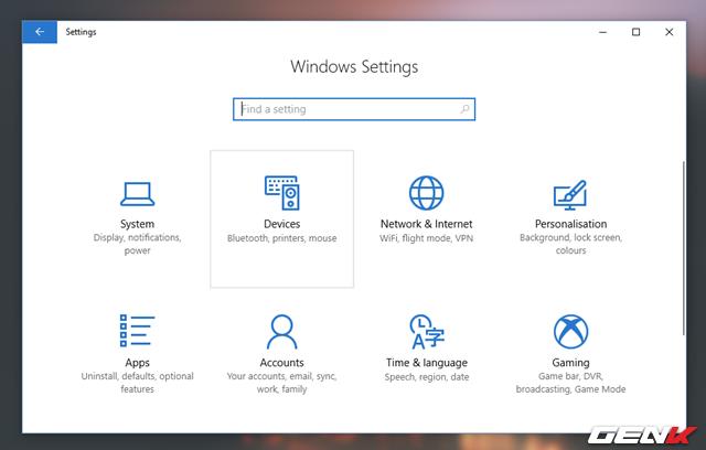 Mở ứng dụng Settings và truy cập vào Devices.