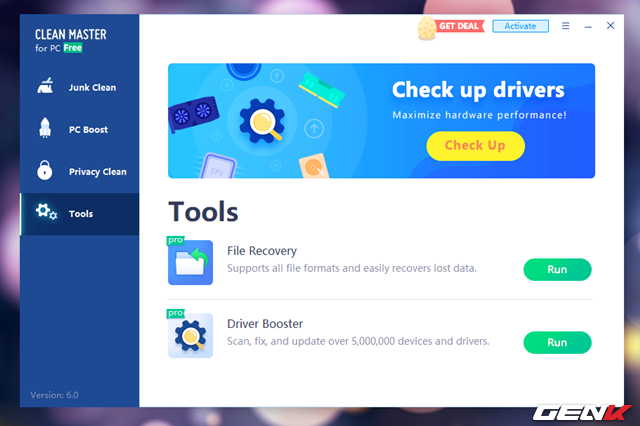 """Tab """"Tools"""" sẽ bổ sung cho người dùng 2 công cụ hỗ trợ khôi phục các dữ liệu đã bị xóa và kiểm tra, cập nhật driver."""