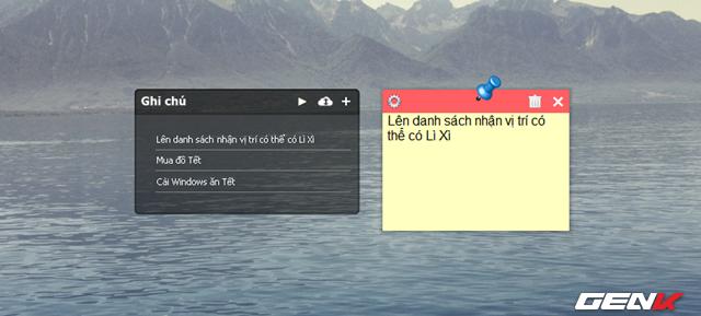 """Để thêm các ghi chú vào widget, bạn hãy nhấp vào biểu tượng """"+"""", sau đó cửa sổ note sẽ xuất hiện và cho phép bạn tiến hành nhập ghi chú vào đó. Sau khi nhập xong, nội dung ghi chú sẽ xuất hiện ở widget và bạn có thể đóng cửa sổ nhập liệu lại bằng cách nhấp vào biểu tượng """"X""""."""