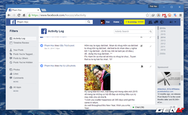 Lúc này, F___book Post Manager sẽ tiến hành việc quét toàn bộ nội dung có liên quan đến lựa chọn của bạn.
