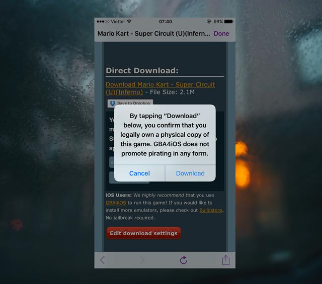 """Khi nhấp vào liên kết tải game, hộp thoại yêu cầu cấp phép xuất hiện, hãy nhấn """"Download""""."""