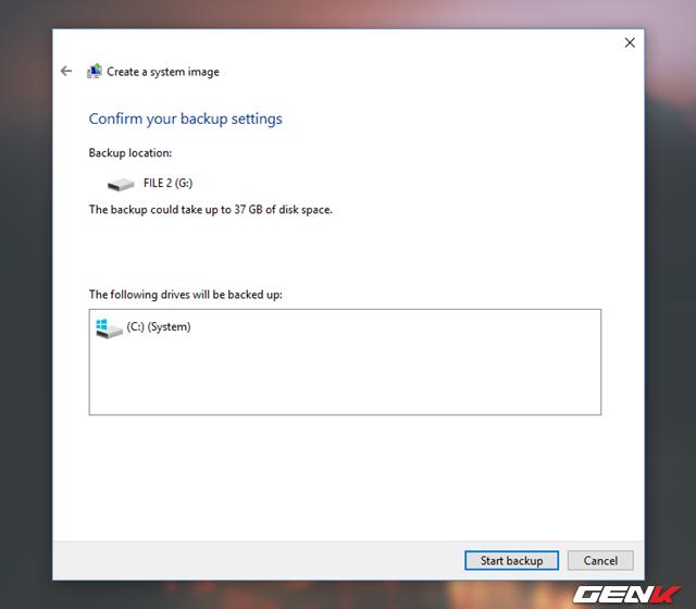 """Cuối cùng, bạn chỉ việc nhấp vào """"Start Backup"""" để việc khởi tạo System Image được bắt đầu."""