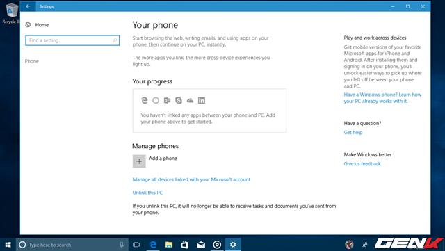 """Trong """"Phone"""", bạn sẽ được cung cấp tùy chọn liên kết chiếc smartphone iOS hay Android của mình với máy tính chạy Windows 10 Fall Creators thông qua các ứng dụng được cung cấp bởi Microsoft. Tuy nhiên, có vẻ dịch vụ này vẫn chưa hoạt động."""