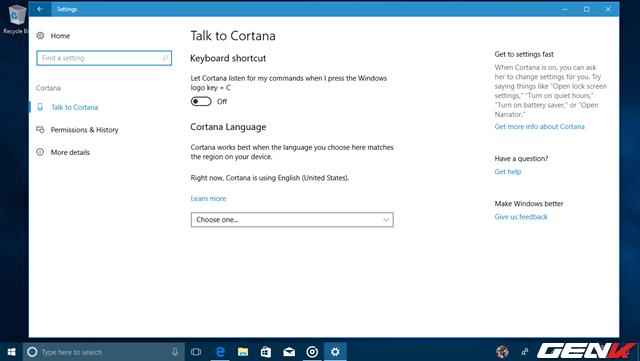Phần thiết lập của Cortana đã được di chuyển vào Settings, mang đến cho người dùng một giao diện thiết lập trống trải và dễ điều hướng hơn.