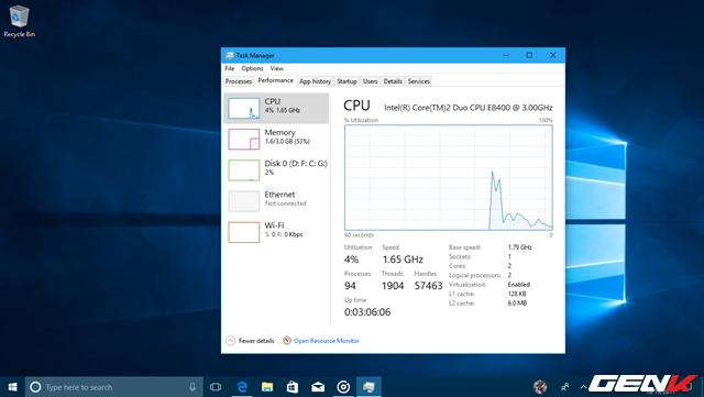 """Bên cạnh các tính năng và thay đổi mới ở Windows 10 Fall Creators, có một điều mà chắc chắn ai cũng sẽ thích thú ở phiên bản này. Đó chính là việc dường như Microsoft đã thành công trong việc hoàn toàn loại bỏ được lỗi """"100% Disk"""", vốn bị người dùng lên án rất nhiều ở các phiên bản trước. Hệ thống hoạt động …êm hơn và rất mượt."""