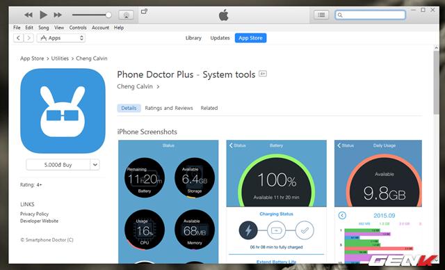 """Phone Doctor Plus được cung cấp trên App Store với giá chỉ ngang """"một cốc trà đá"""" 5000đ. Và ứng dụng này hoạt động trên hầu hết các thiết bị của Apple chạy phiên bản iOS 8 trở lên."""