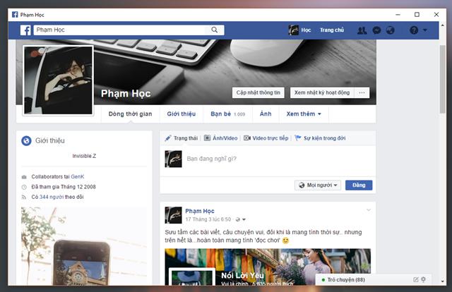 Mở trình duyệt Google Chrome và truy cập vào trang Facebook cá nhân của bạn.