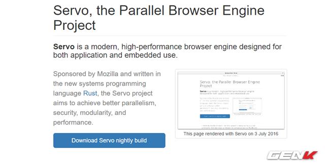 """Để tải về, bạn hãy truy cập vào đường dẫn này và nhấn vào lựa chọn """"Download Servo nightly build""""."""