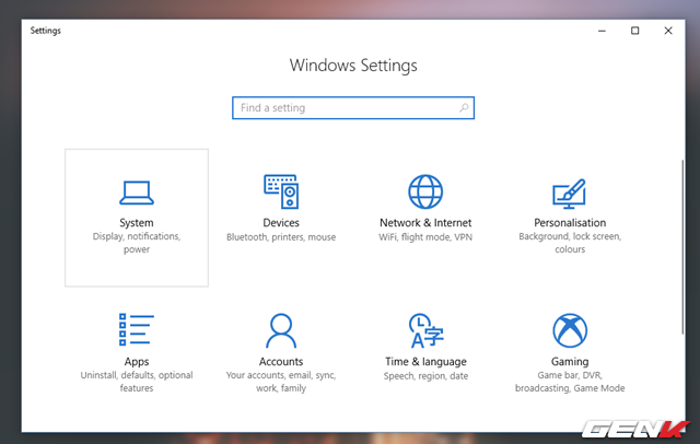 Khởi động Settings và truy cập vào System.