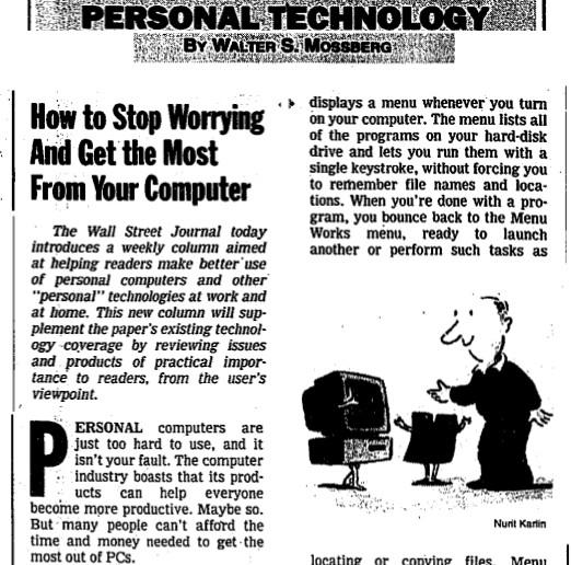 Bài báo chuyên đề đầu tiên của Walt Mossberg mang tên Điện toán cá nhân (Personal Technology) trên tờ Journal vào ngày 17/10/1991