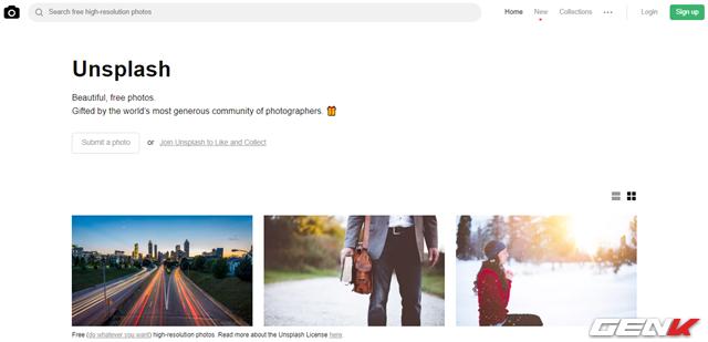 Chỉ trong vòng 3 năm, Unsplash xuất thân từ một blog đơn giản trên Tumble đã phát triển thành một cộng đồng nhiếp ảnh to lớn và hợp pháp. Trang web này chuyên cung cấp những hình ảnh có độ phân giải cao và tuyệt đẹp từ khắp nơi trên thế giới.