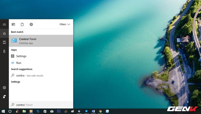 """Nhập từ khóa """"control"""" vào Cortana và nhấp vào kết quả """"Control Panel""""."""