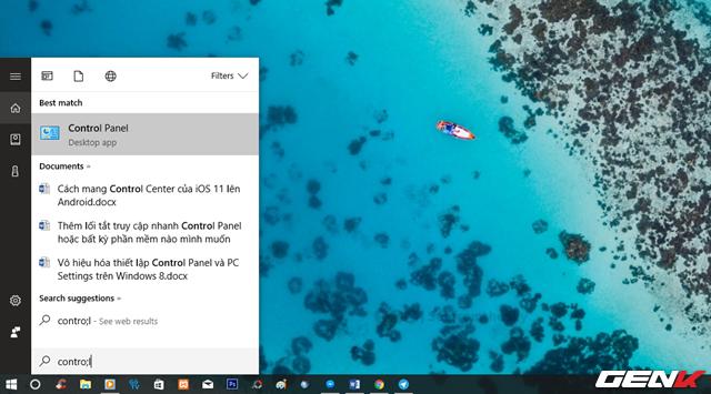 """Đầu tiên, bạn cần xác định là font chữ bạn chọn hỗ trợ tốt ngôn ngữ tiếng Việt và không phải loại ngôn ngữ kí hiệu. Khi đã xong, bạn hãy nhập từ khóa """"control"""" vào Cortana và nhấp vào kết quả Control Panel như hình."""
