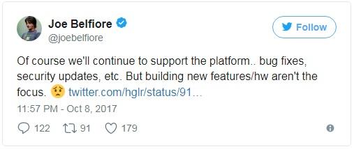 Tất nhiên là chúng tôi sẽ tiếp tục hỗ trợ nền tảng này như sửa lỗi, cập nhật bảo mật...  Nhưng hãng sẽ không tập trung phát triển phần cứng cũng như những tính năng mới nữa.