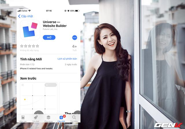 Bước 1: Truy cập vào App Store, tìm và tải về ứng dụng Universe Website Builder.