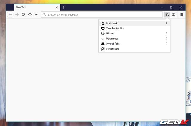 Bước 1: Khởi động Firefox Quantum, sau đó nhấn tổ hợp phím Ctrl + Shift + B hoặc nhấp vào biểu tượng Library và chọn Bookmarks > Show All Bookmarks.