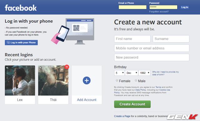 """Bước 1: Khởi động trình duyệt web và truy cập vào trang web Facebook, chuyển ngôn ngữ hiển thị sang tiếng Anh. Khi đó, lựa chọn """"Log in with your phone"""" sẽ hiển thị."""