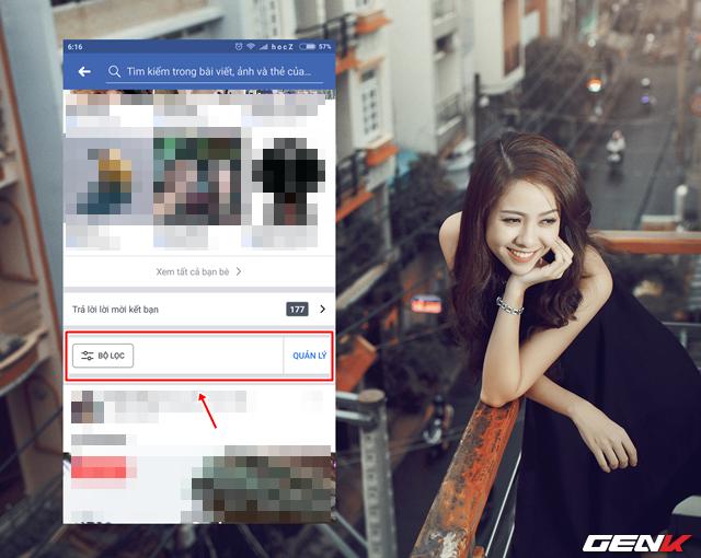 """Tiến hành cập nhập ứng dụng Facebook của bạn lên phiên bản mới nhất và truy cập vào trang cá nhân của mình. Khi đó bạn sẽ thấy tùy chọn """"Bộ Lọc"""" xuất hiện. Ở đây bạn sẽ có 2 thao tác để sử dụng tính năng mới này, bao gồm """"BỘ LỌC"""" và """"QUẢN LÝ""""."""