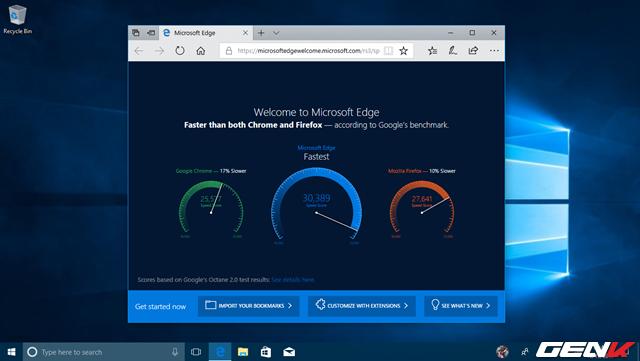 """Microsoft cũng không quên """"khoe"""" về tốc độ duyệt web của Microsoft Edge khi bạn mở trình duyệt này lên."""