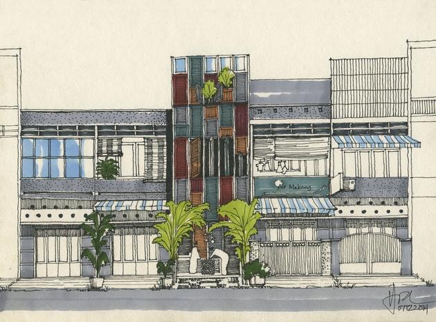 Bản vẽ tay concept của Vegan House.