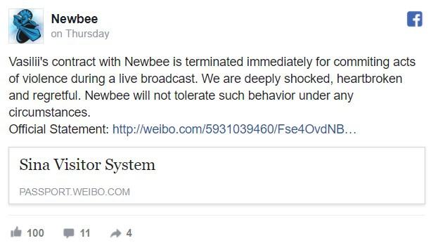 Đội đấu Newbee đã lên tiếng chấm dứng hợp đồng với Li ngay sau đoạn livestream lan truyền trên mạng xã hội