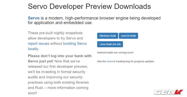 """Tiếp theo, bạn sẽ được đưa đến trang tải về gói cài đặt của Mozilla Servo. Hãy nhấp vào """"Windows Build""""."""
