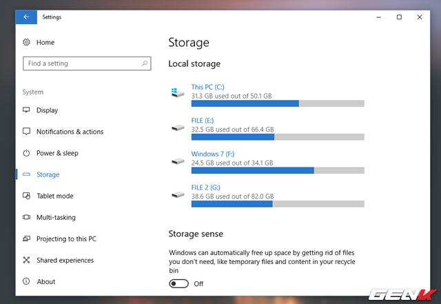 Trong System, hãy tìm và nhấp vào nhóm thiết lập Storage.