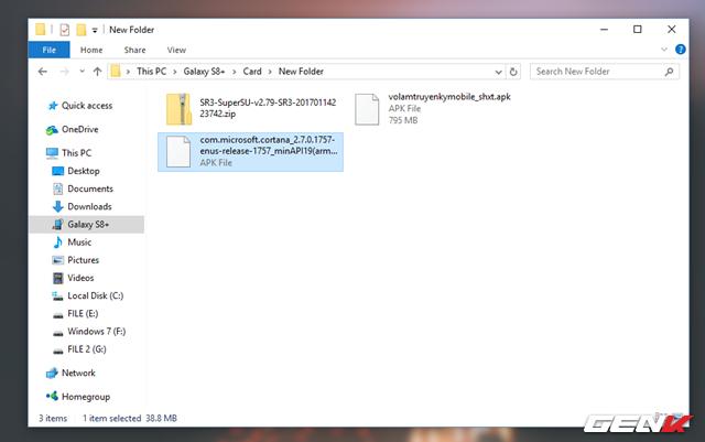Sau khi tải về, bạn hãy sao chép gói tin APK Cortana vào thiết bị.