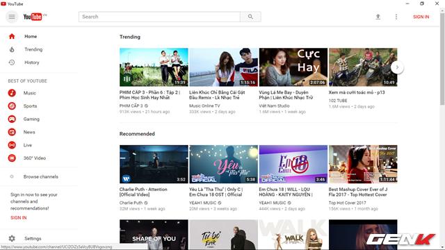 Khi đó, bạn sẽ được đưa trở lại trang chủ của Youtube. Và giao diện mới sẽ được kích hoạt.
