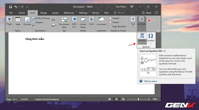 """Tìm đến nhóm tùy chọn Symbol và nhấp vào mũi tên mở rộng bên dưới lựa chọn """"Equation""""."""