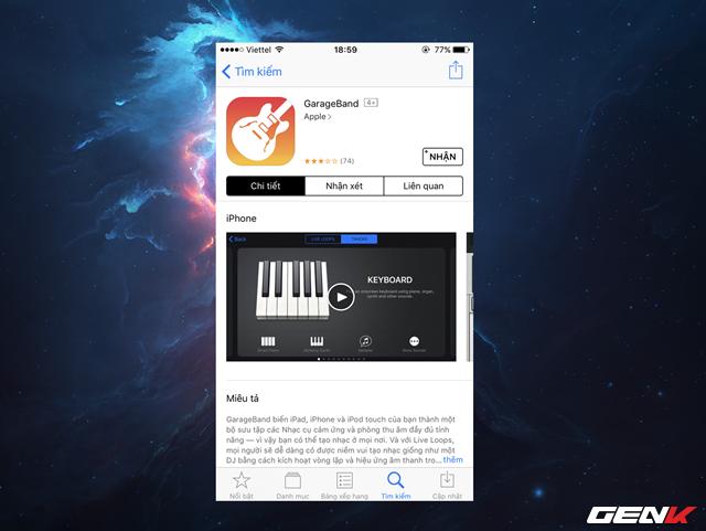 Mở iPhone lên và truy cập vào App Store, tìm và tải về ứng dụng GarageBand. Đây là một ứng dụng soạn thảo nhạc khá thú vị của Apple, và chúng ta sẽ lợi dụng nó để làm cầu nối cho việc xác nhận gói tin nhạc của bạn là …chính thống đối với iOS.