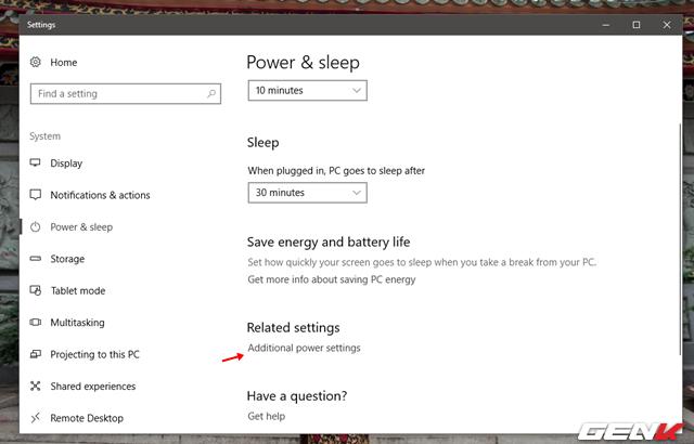 """Nhấn vào tùy chọn """"Additional power settings""""."""