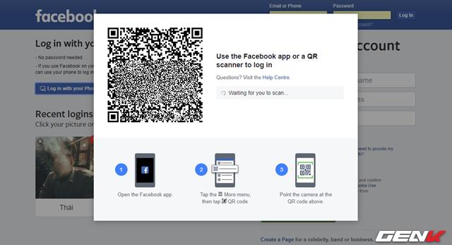 """Bước 2: Nhấp vào tùy chọn """"Log in with your phone"""", cửa sổ kèm mã QR và hướng dẫn thao tác sẽ xuất hiện."""