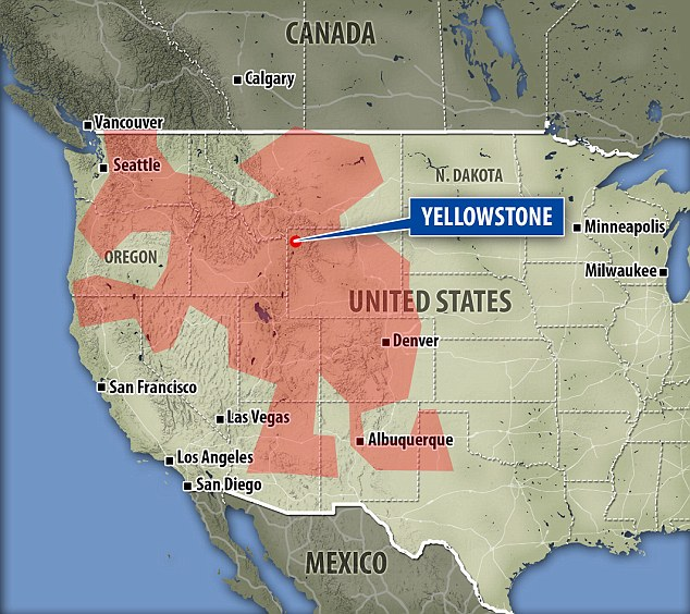 Công viên Quốc gia Yellowstone cũng nằm trong khu vực được nghiên cứu.