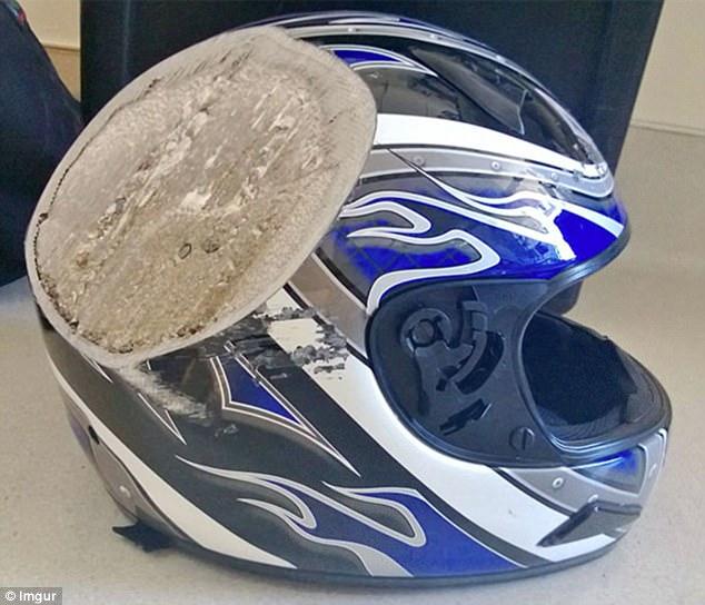 Nếu không có chiếc mũ bảo hiểm này, vết mài ngọt lịm kia đã nằm trên hộp sọ của nạn nhân!