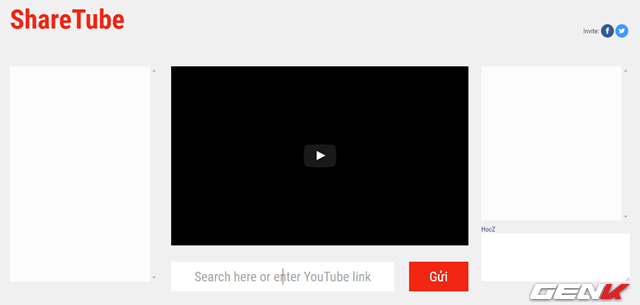Sau khi đã đăng nhập vào phòng, bạn sẽ thấy giao diện của ShareTube khá đơn giản. Bao gồm các ô tương ứng với ô danh sách thành viên, ô trò chuyện chung, ô nhập nội dung trò chuyện, ô nhập đường dẫn hay từ khóa tìm kiếm video trên Youtube và danh sách một số video gợi ý.