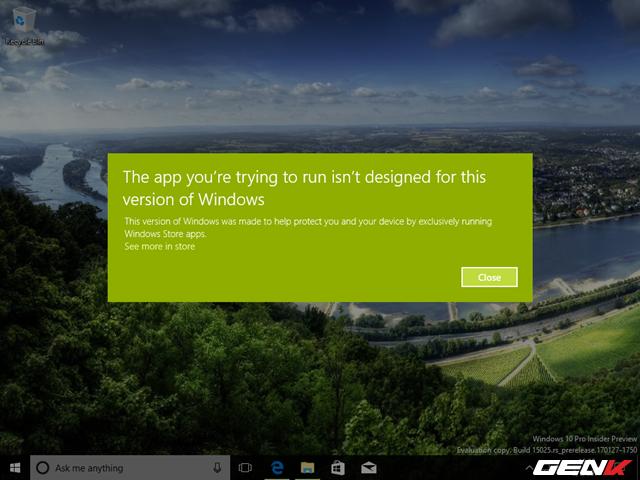 Kèm theo ngay sau đó là một… thông báo lỗi về một số các phần mềm ứng dụng không thể chạy được ở phiên bản Windows này. Hay cụ thể hơn là chúng không phù hợp.