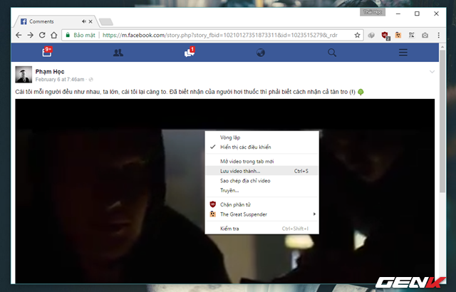 """Trong khi video đang phát, bạn hãy nhấn phải chuột vào khung Player và chọn lệnh """"Lưu video thành…""""."""