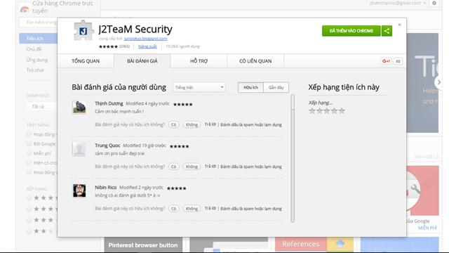 Sử dụng Google Chrome và truy cập vào địa chỉ này để cài đặt J2TeaM Security cho trình duyệt.