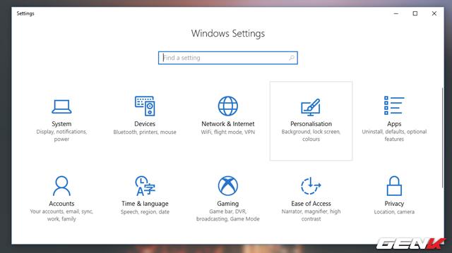 Mở ứng dụng Settings và truy cập vào Personalization.