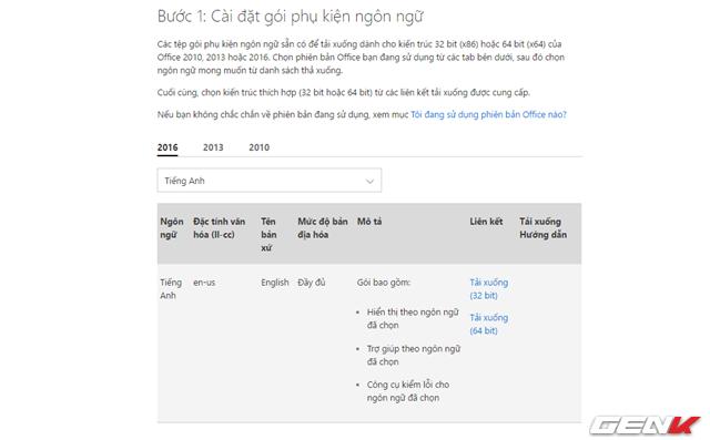 Trang web hỗ trợ của Microsoft được mở ra. Bạn hãy lựa chọn phiên bản Office mình đang dùng và nhấp chọn ngôn ngữ cần tải. Tùy vào cấu trúc phiên bản Office mà bạn đang sử dụng mà bạn cần tải về gói cài đặt sao cho phù hợp.