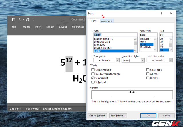 """Hộp thoại thiết lập Font xuất hiện, hãy nhấp vào tab """"Advanced""""."""