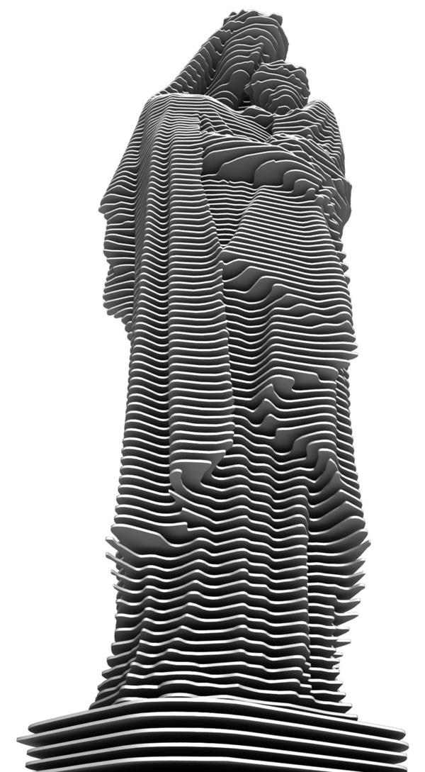 Hình ảnh Đức Mẹ, tuy không khắc họa chi tiết ngũ quan, nhưng người xem vẫn cảm nhận được sự mềm mại và gần gũi của chủ thể toát lên, thông qua đường nét và vẻ uốn lượn của những miếng kim loại.