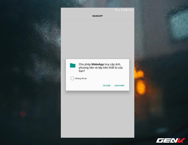 Khởi động ứng dụng lên, bạn cần cấp phép cho ứng dụng được sử dụng chức năng máy ảnh và truy cập vào dữ liệu hình ảnh trên thiết bị.