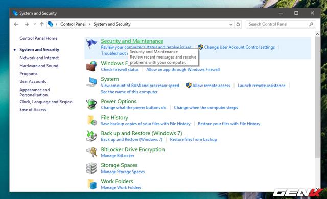 """Nhấp tiếp vào lựa chọn """"Security and Maintenance""""."""
