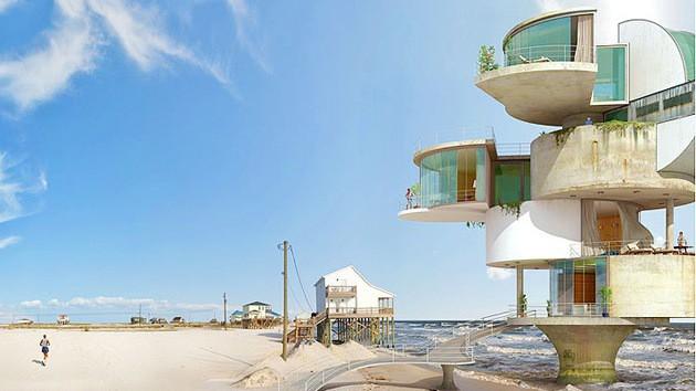 Dionisio González muốn lưu lại những kỷ niệm dữ dội nhất giữa thiên nhiên và con người nơi đây, như bức ảnh này là một căn nhà với thiết kế vô cùng kỳ lạ, không hoàn chỉnh như thể vừa bị gió bão quét qua vậy.