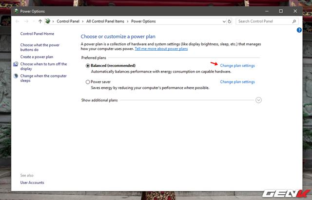 """Nhấn tiếp vào tùy chọn """"Change plan settings""""."""