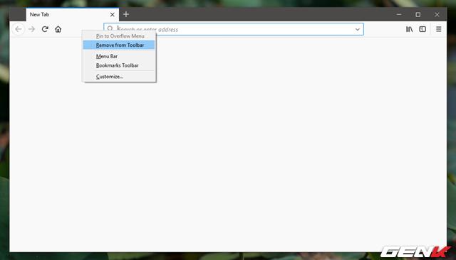 """Tuy nhiên, bạn vẫn có thể nhanh chóng loại bỏ nhanh một thành phần nào đó từ thanh công cụ mà không cần phải truy cập vào Customize, bằng cách nhấn phải chuột vào nút tác vụ mình muốn loại bỏ và chọn lệnh """"Remove from Toolbar""""."""